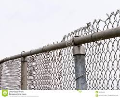 Top Of Old Chain Link Fence And Posts On White Stock Photo Image Of Enclosed Enclosure 59649948
