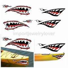 4pcs Cool Shark Teeth Mouth Decal Stickers For Kayak Canoet Self Adhesive Unbranded Cool Sharks Kayaking Shark Teeth