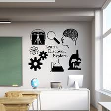 Science Wall Decal Learn Discover Explore Science Etsy Science Classroom Science Decor Science Room