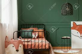 Fox Themed Kid Bedroom Interior With Molding On Green Wall And Stock Photo Picture And Royalty Free Image Image 122007631