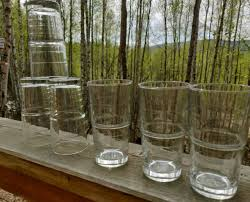 pair clear stemmed drinking glasses