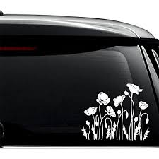 Amazon Com Poppy Flowers Decal Sticker For Use On Laptop Helmet Car Truck Motorcycle Windows Bumper Wall And Decor Size 6 Inch 15 Cm Wide Color Matte White Arts Crafts Sewing