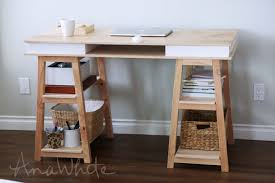 sawhorse storage leg desk ana white