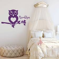 Amazon Com Girls Room Wall Decal Owl On Tree Branch Personalized Children Or Teen Vinyl Decoration For Bedroom Or Playroom Decor Handmade