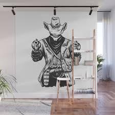 Wild Cowboy Skeleton Western Skull Cartoon Wall Mural By Marios Society6