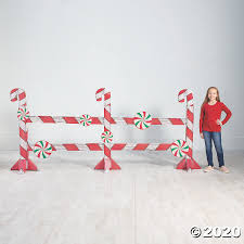 Christmas Candy Cane Fence Cardboard Stand Up Oriental Trading