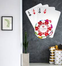 Poker Casino Wall Decal Playing Poker Cards Wall Art Etsy