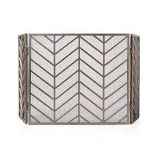 chevron pewter 3 panel metal fireplace