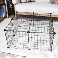 Diy Pet Cats Dogs House Indoor Fence Cage Combination Assembly Steel Wire Mesh Black Walmart Com Walmart Com