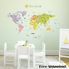 Wall Decal World Map Stickers Large Globe Decor Transfer Art For Kids Toddlers 717109897126 Ebay