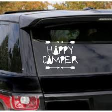 Happy Camper Decal Rv Camping Letters Quote Car Truck Window Sticker Art 7 5x6 Inch Glossy White Walmart Com Walmart Com