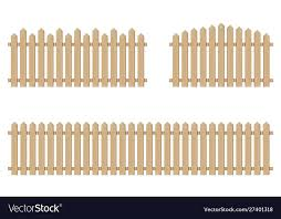 Brown Wooden Fence Isolated On White Background Vector Image