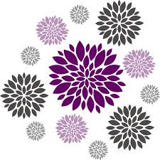 Flower Wall Decal Set Of 12 Flower Wall Decals Dahlia Etsy