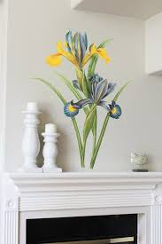 44in Spanish Iris Vintage Reproduction Wall Sticker By Mettaprints 59 95 Christmas Cutouts Floral Decal Large Wall Art
