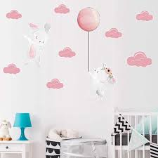 Cute Rabbit Balloon Living Room Bedroom Nursery Kindergarten Removable Diy Door Window Wall Stickers Decal Decoration Mural Dc18 Wall Stickers Aliexpress