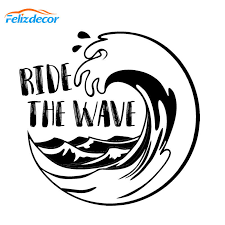 Ride The Wave Decal Art Vinyl Car Rear Window Stickers Cool Decor White Pattern Modern Decoration L601 Car Stickers Aliexpress