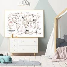 Woodland Animal World Map Poster Art Prints Nursery Decor Watercolour Map Custom Name Canvas Painting For Kids Room Wall Art Gallery Wallrus Free Worldwide Shipping