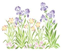 Large Iris Daffodil And Violet Garden Wall Stencil