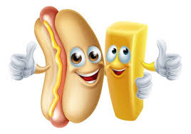 Cartoon hotdog and potato chip french fry mascots: Royalty-free ...