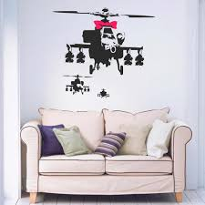 Banksy Style 3 Helicopters Pink Bow Black Removable Vinyl Wall Art Sticker Decal Bedroom Living Room Home Window Decal B071 Window Decals Sticker Decalvinyl Wall Aliexpress