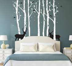 Amazon Com Fymural Forest And Deers Tree Wall Stickers Art Mural Wallpaper For Bedroom Kid Baby Nursery Vinyl Removable Diy Decals 118 1x102 4 White Black Arts Crafts Sewing