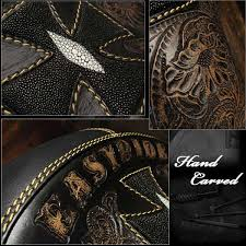 wild hearts cross carved leather