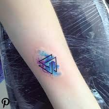 Watercolor Viking Symbol Valknut Tattoo On The Forearm