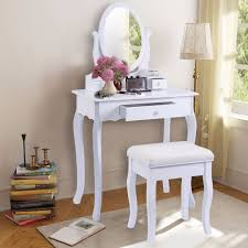 white vanity table jewelry makeup