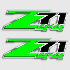 Z71 Hulk Green Kawasaki Silverado Chevy Truck Decal Sticker Set