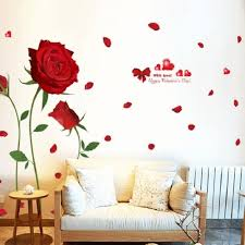 Valentines Day Diy Red Rose Wall Decal Removable Flowers Stickers Decor 60x90cm Walmart Com Walmart Com