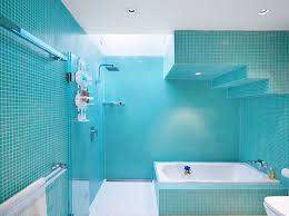 bathrooms with blue tiles this