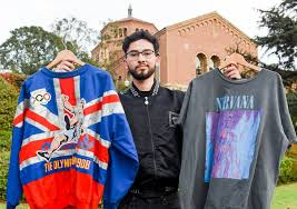 student sells thrifted streetwear