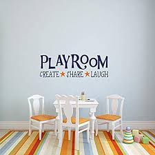 Amazon Com Playroom Wall Decals Playroom Rules Vinyl Decal Create Share Laugh Kids Room Wall Decal Playroom Wall Decor Children Wall Decal Kids Home Kitchen