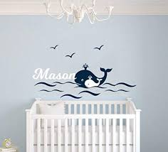 Amazon Com Custom Name Waves Birds And Whales Animal Series Baby Boy Nursery Wall Decal For Baby Room Decorations Mural Wall Decal Sticker For Home Children S Bedroom Mm97 Wide 32