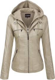 removable hooded faux leather jackets
