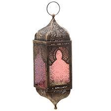 glass moroccan style metal hanging lantern