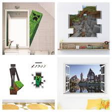 Mosaic Game Theme Minecraft Wall Stickers For Kids Room Home Decoration 3d Window Pvc Steve Mural Art Diy Boys Wall Decal Poster My Sweet Home
