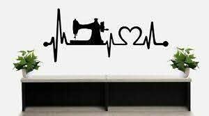 Sewing Machine Heartbeat Lifeline Room Wall Decal Sticker Bg501 Love To Sew Art Ebay