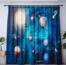 Nordic 3d Planet Star Blackout Curtains For Kids Room Printed Curtains For Boys Bedroom Baby Room Window Drapes Blue Sheer Voile Curtains Aliexpress