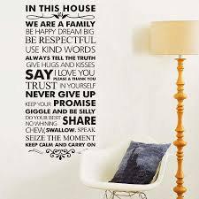In This House Family Rules Home Decor Quotes Wall Decal 8084 Decorative Adesivo De Parede Vinyl Wall Sticker Wall Art Belenydogen
