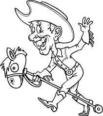 Cowboy Op Een Speelgoed Paard Kleurplaat Gratis Kleurplaten Printen