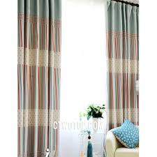 Cute Organic Kids Room Blackout Teal And Red Striped Curtains
