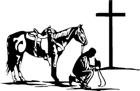 Cowboy Praying At Cross With Horse Vinyl Decal Sticker 7 5 Wide