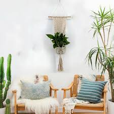hand knit wall hanging plant pot
