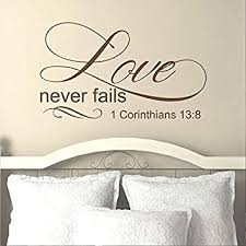 Amazon Com Battoo Love Never Fails 1 Corinthians 13 8 Wall Decal Quote Bedroom Decor Bible Scripture Quote Decal Vinyl Lettering Love Wall Decal Wedding Gift Dark Brown 22 Wx13 H Furniture Decor