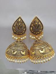 gn oxidized plated peral gold jhumka
