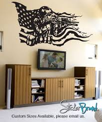 America Flag With U S Military Soldier Vinyl Wall Decal Sticker Gfoster155 Vinyl Wall Decals Wall Decals Vinyl Wall