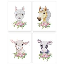 Girls Nursery Room Wall Art Floral Roses Farm Animals Sheep Horse Lla
