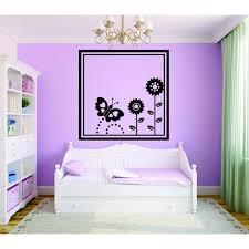 Custom Wall Decal Happy Garden Frame Design Butterfly Flowers Girls Bedroom Teen Baby 20x20 Walmart Com Walmart Com