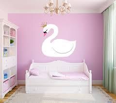 Girls Room Swan Princess Crown Bedroom Vinyl Wall Decal Graphics